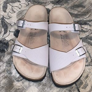 BIRKI'S tan & white striped sandals 37